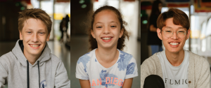 diverse students children at a school smiling